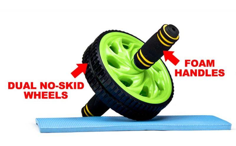 Ab Wheel - Dual Wheel Roller W Non-Slip Grip, Green