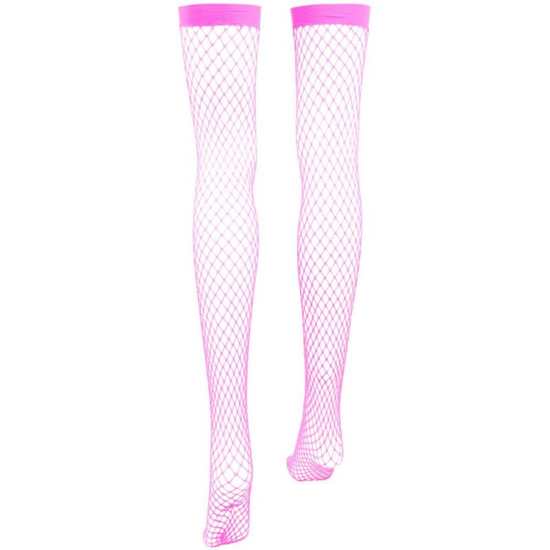 Pink Fishnet Thigh High Costume Tights