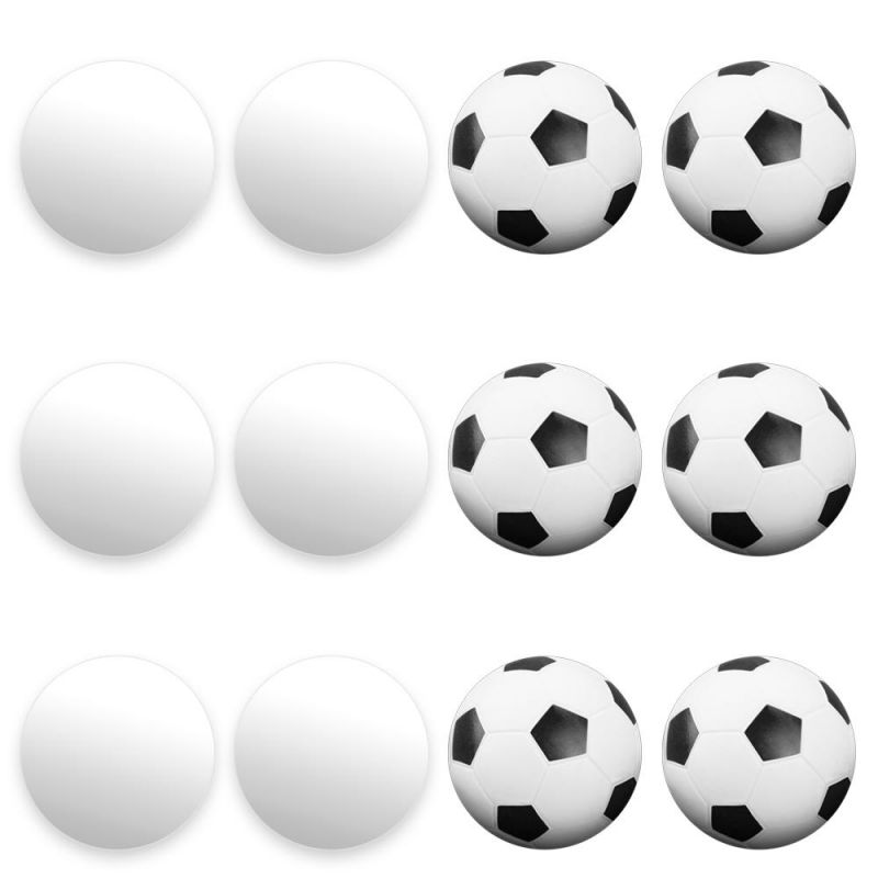 12 Mixed Foosballs, Includes 6 Soccer Style And 6 Smooth