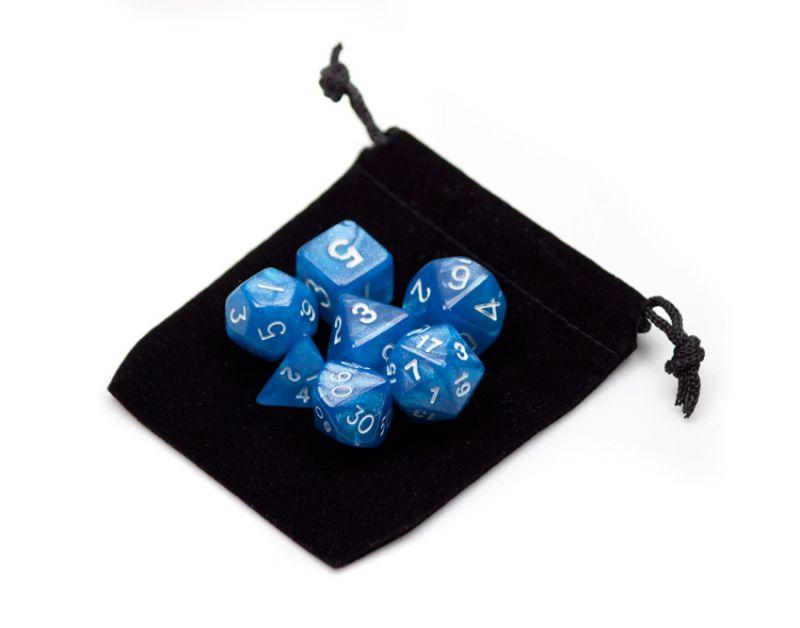 7 Die Polyhedral Dice Set In Velvet Pouch- Horizon