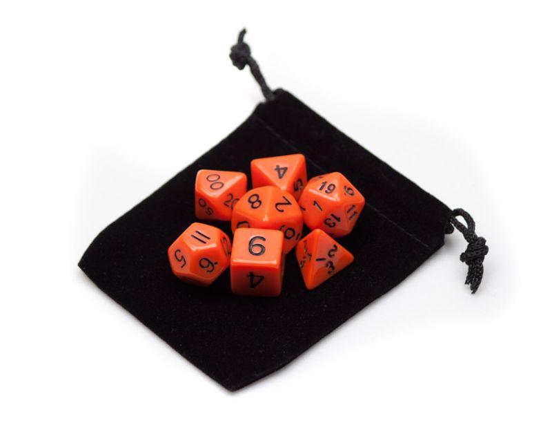 7 Die Polyhedral Dice Set In Velvet Pouch- Opaque Orange