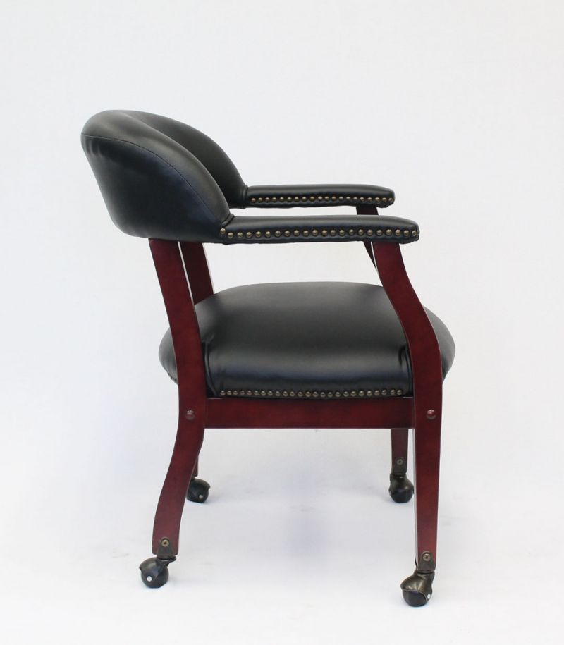 Boss Captain'S Guest, Accent Or Dining Chair In Black Vinyl W/ Casters