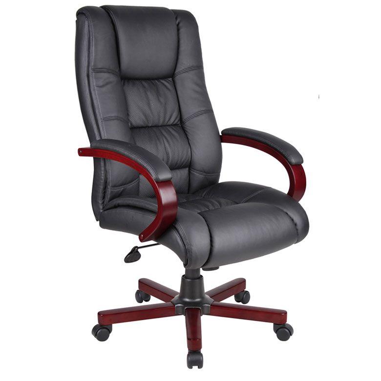 Boss High Back Executive Wood Finished Chairs, Mahogany