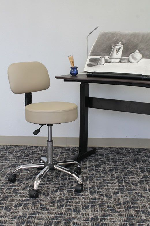 Boss Be Well Medical Spa Professional Adjustable Stool With Back, Beige