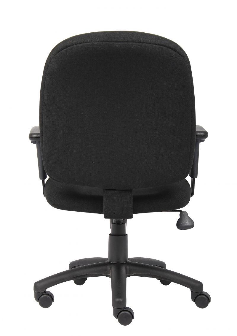 Boss Black Fabric Task Chair W/ Adjustable Arms