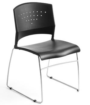 Boss Black Stack Chair With Chrome Frame (set Of 4)