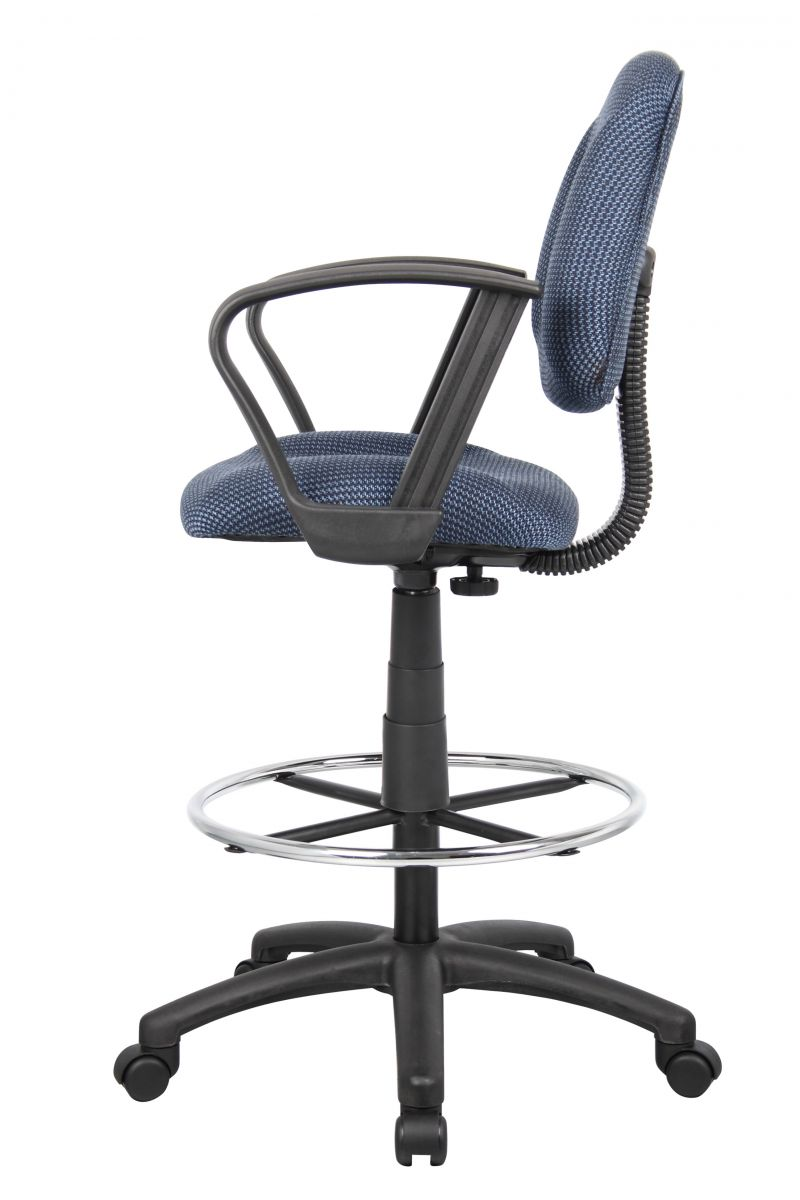 Boss Ergonomic Works Adjustable Drafting Chair With Loop Arms And Removable Foot Rest, Blue