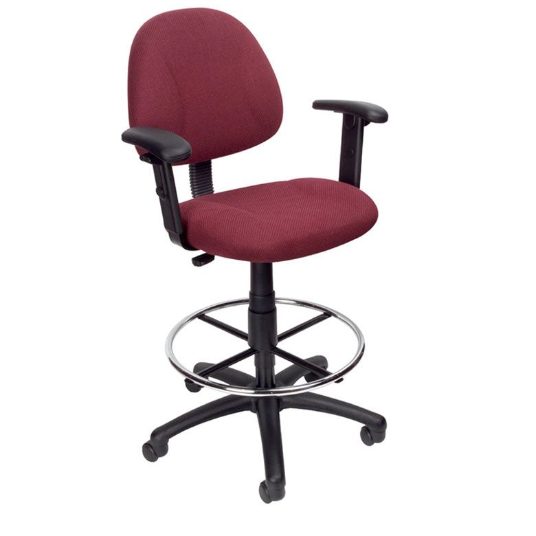 Boss Ergonomic Works Adjustable Drafting Chair With Adjustable Arms And Removable Foot Rest, Burgundy