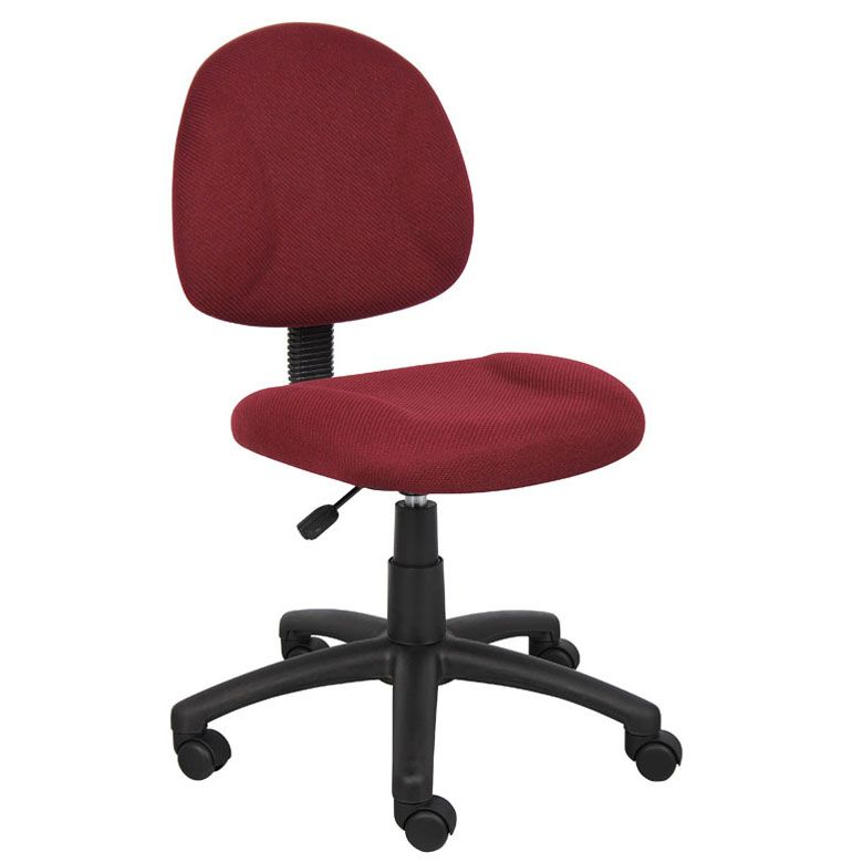 Boss Perfect Posture Deluxe Office Task Chair Without Arms, Burgundy