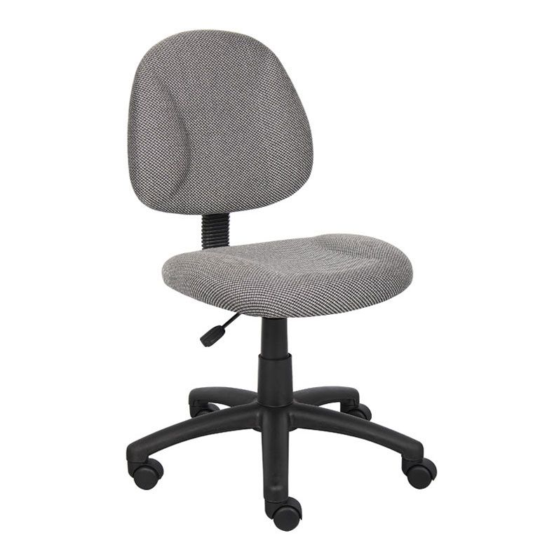 Boss Perfect Posture Deluxe Office Task Chair Without Arms, Grey