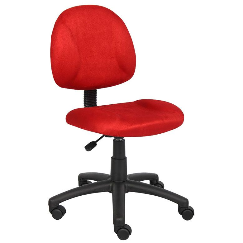 Boss Perfect Posture Deluxe Modern Microfiber Home Office Chair Without Arms, Red