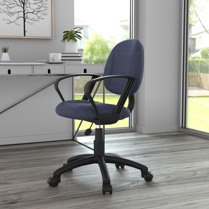 Boss Perfect Posture Deluxe Office Task Chair With Loop Arms, Blue
