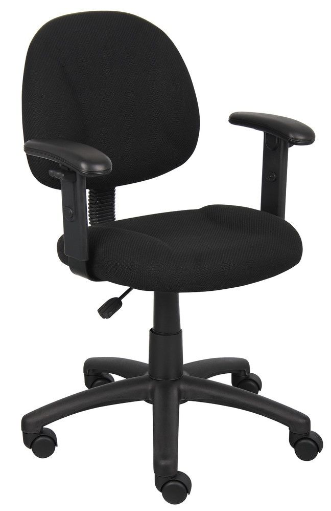 Boss Perfect Posture Deluxe Office Task Chair With Adjustable Arms, Black