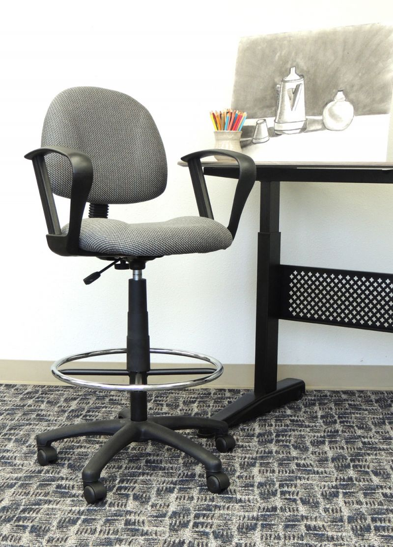 Boss Ergonomic Works Adjustable Drafting Chair With Loop Arms And Removable Foot Rest, Grey