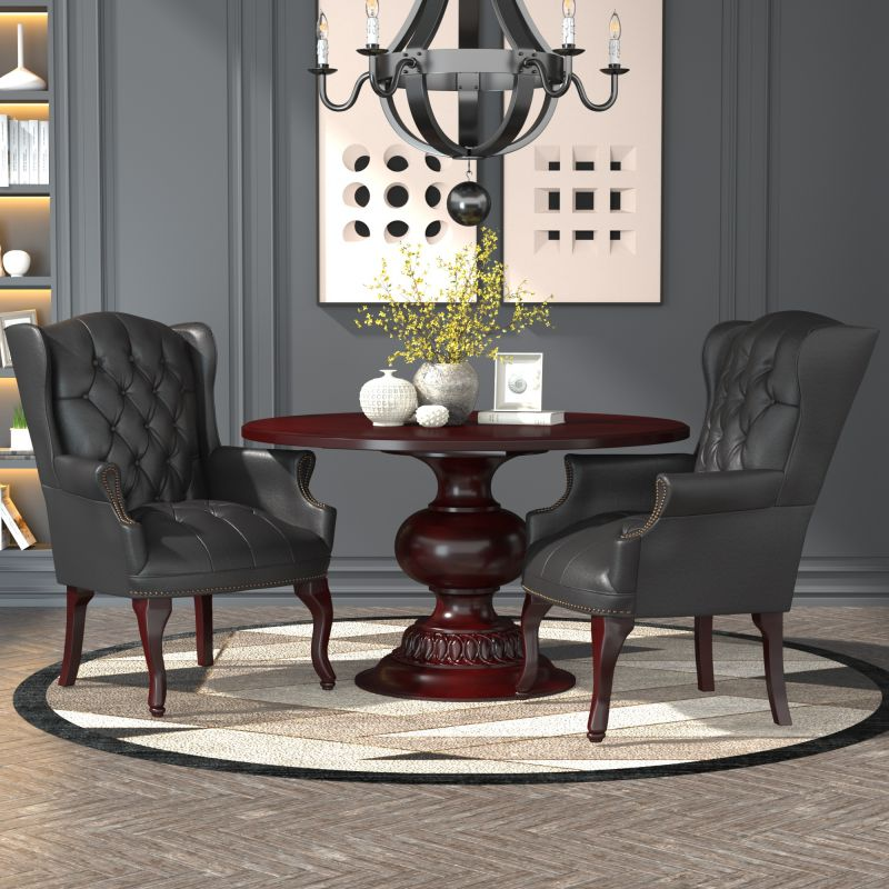 Boss Wingback Traditional Guest Chair In Black