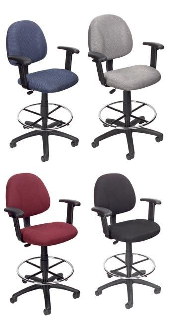 Boss Ergonomic Works Adjustable Drafting Chair With Adjustable Arms And Removable Foot Rest, Black