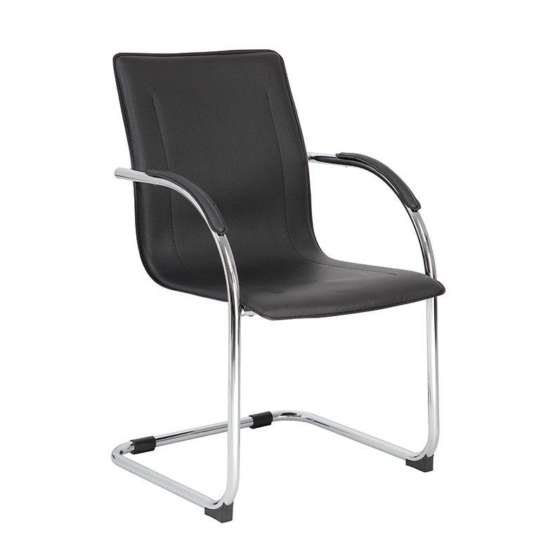 Boss Chrome Frame Black Vinyl Side Chair, (set Of 4)