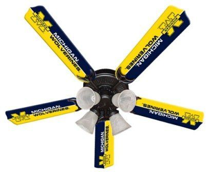 "New Ncaa Michigan Wolverines 52"" Ceiling Fan"