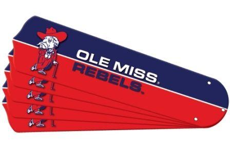 "New Ncaa Ole Miss Mississippi Rebels 42"" Ceiling Fan Blade Set"