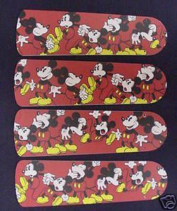 """New Disney Mickey Mouse 42"""" Ceiling Fan Blades Only"""