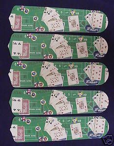 """New Poker Cards Casino Craps 52"""" Ceiling Fan Blades Only"""
