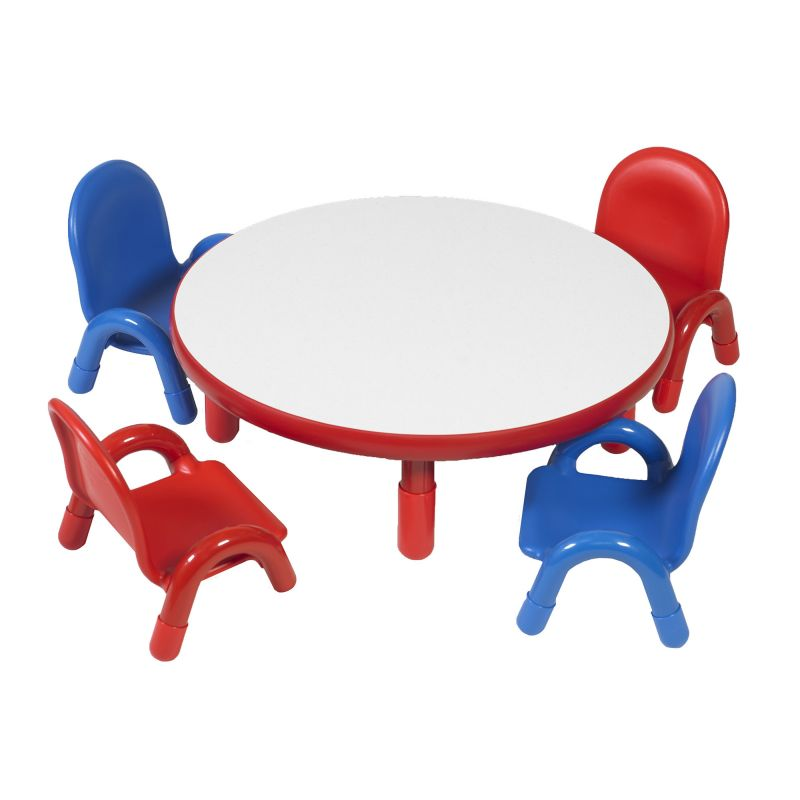 Baseline® Toddler 36″ Diameter Round Table & Chair Set – Candy Apple Red
