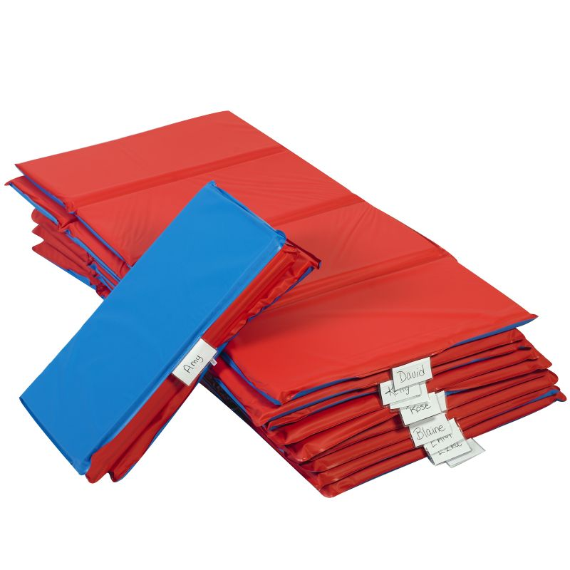 Angels Rest™ Nap Mat 1″ – Red/Blue 4-Section Folding Mat – 10 Pack