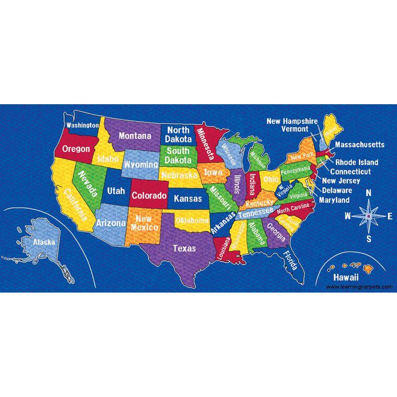 Us Map Educational Rug – Rectangle Large