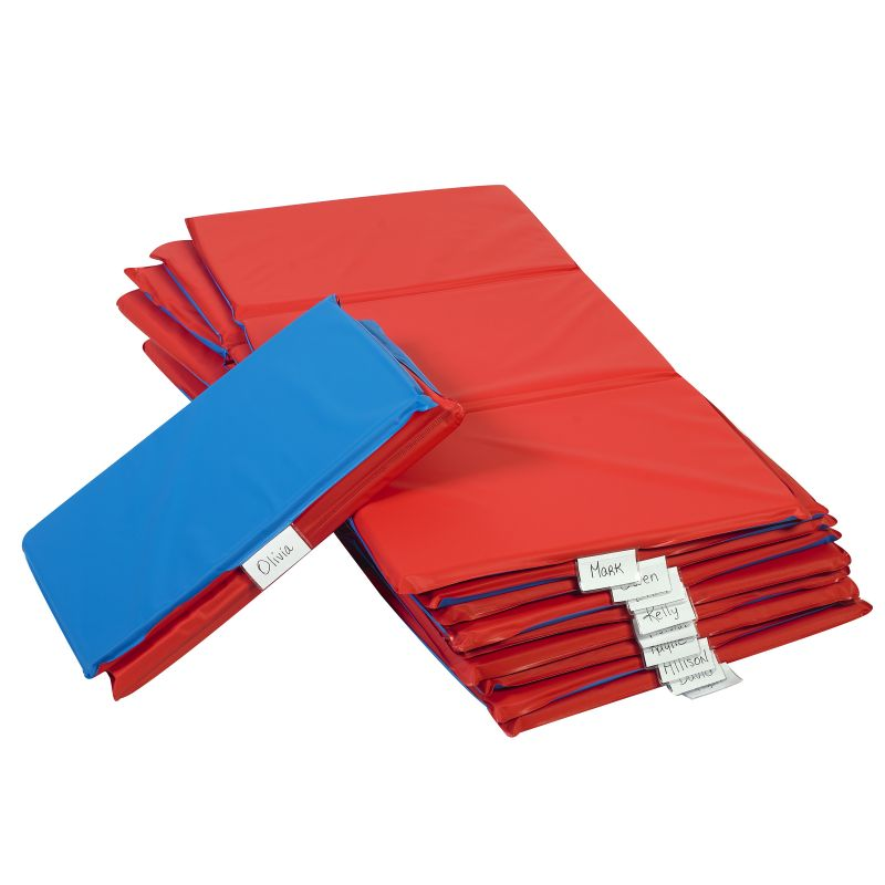 Angels Rest™ Nap Mat 1″ – Red/Blue 3-Section Folding Mat – 10 Pack