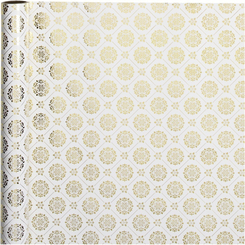 Vivi Gade Gift Wrap, Gold, White, Tiles, W: 50 Cm, 80 G, 3 M, 1 Roll