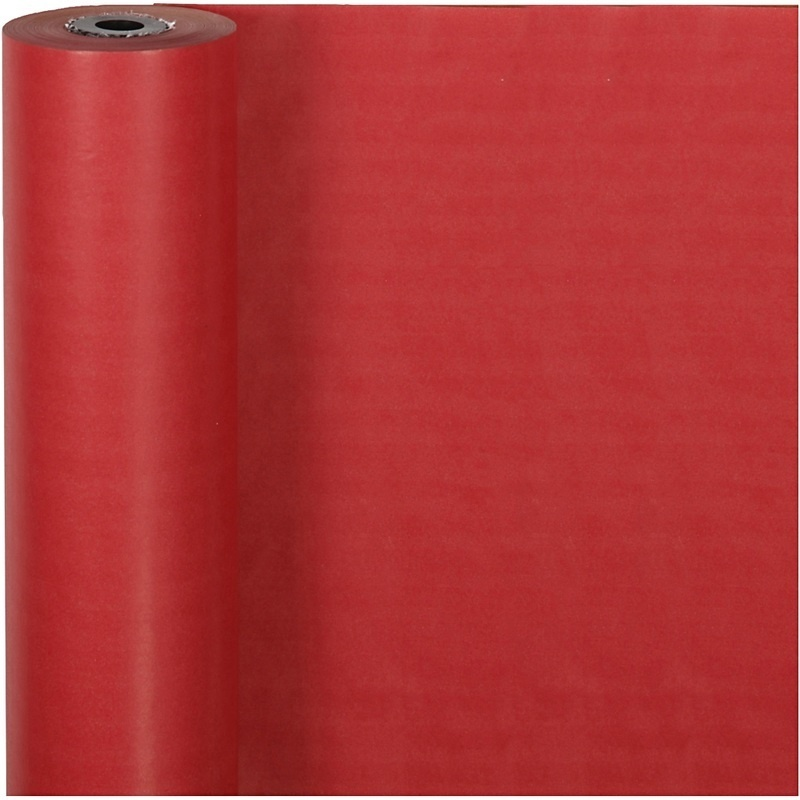 Creativ Company Wrapping Paper, Red, W: 50 Cm, 60 G, 100 M, 1 Roll