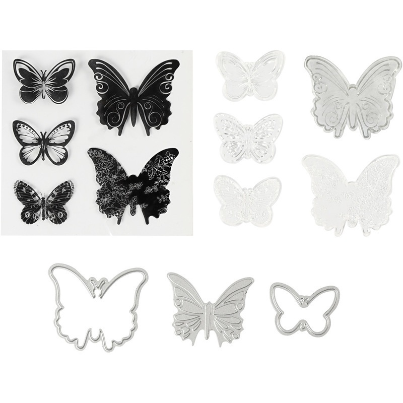 Creativ Company Clear Stamps, Embossing And Cutting Dies, Butterflies, 3,5-5,5 Cm, 1 Pack