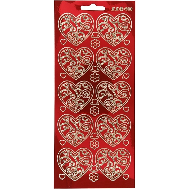 Creativ Company Stickers, Gold, Transparent Red, Hearts, 10x23 Cm, 1 Sheet