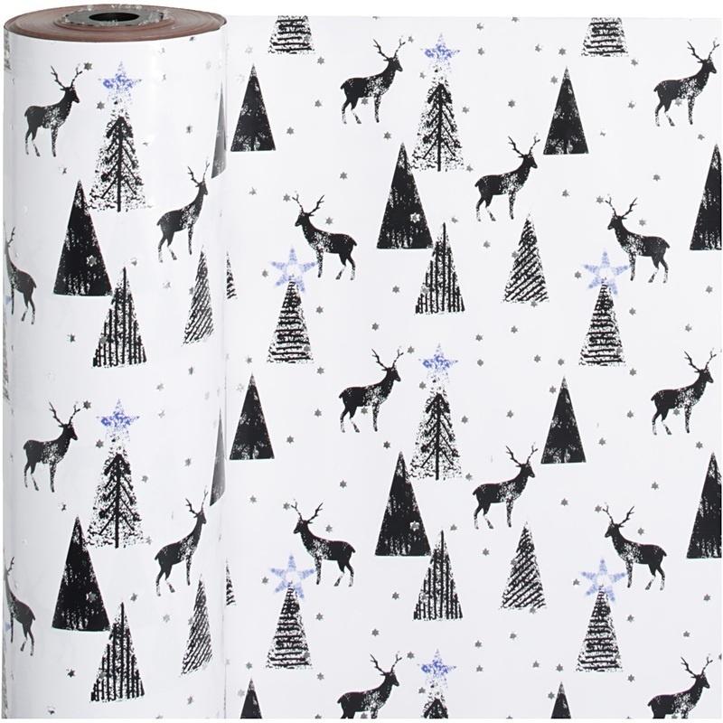 Vivi Gade Gift Wrap, Black, Silver, White, Stag, W: 50 Cm, 80 G, 100 M, 1 Roll