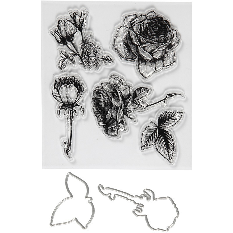 Creativ Company Clear Stamps And Cutting Dies, Flowers, 4-6,5 Cm, 1 Pack