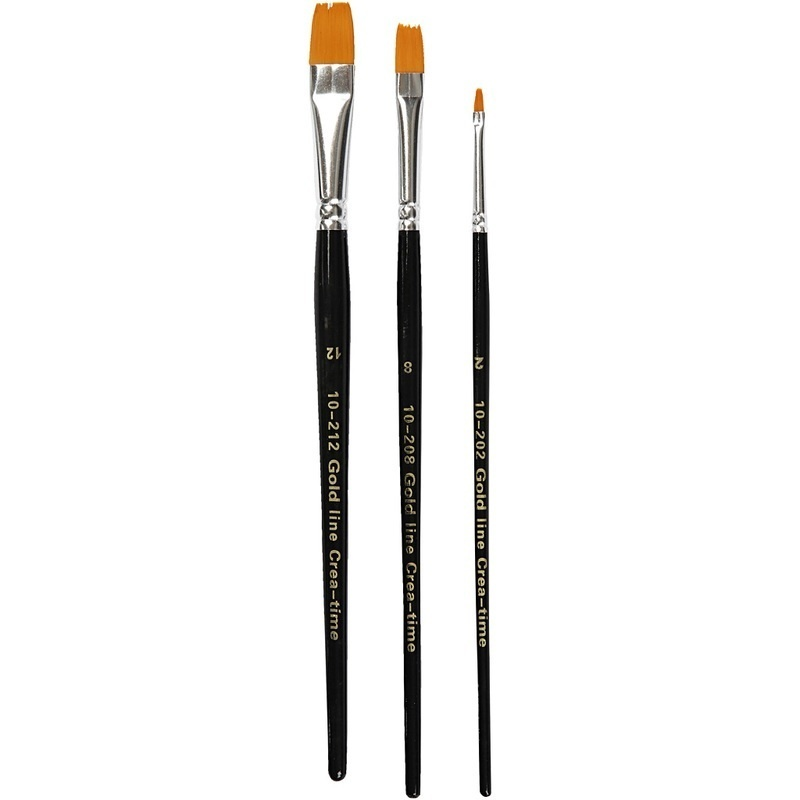 Creativ Company Gold Line Brushes, Flat, 2+8+12, W: 3+9+12 Mm, 3 Pc, 1 Pack