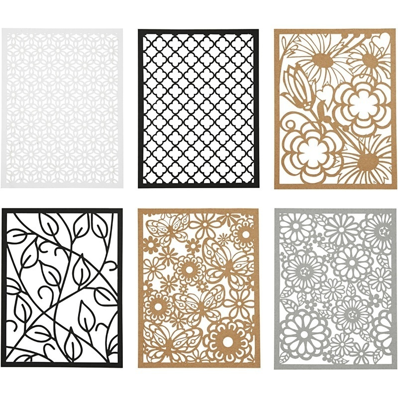 Creativ Company Pad With Cardboard Lace Patterns, Black, Natural, Grey, White, A6, 104x146 Mm, 200 G, 24 Pc, 1 Pack