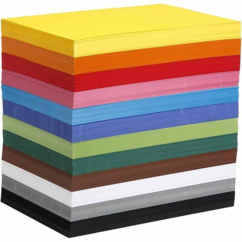 Colortime Coloured Card, Assorted Colours, A4, 210x297 Mm, 180 G, 1200 Ass Sheets