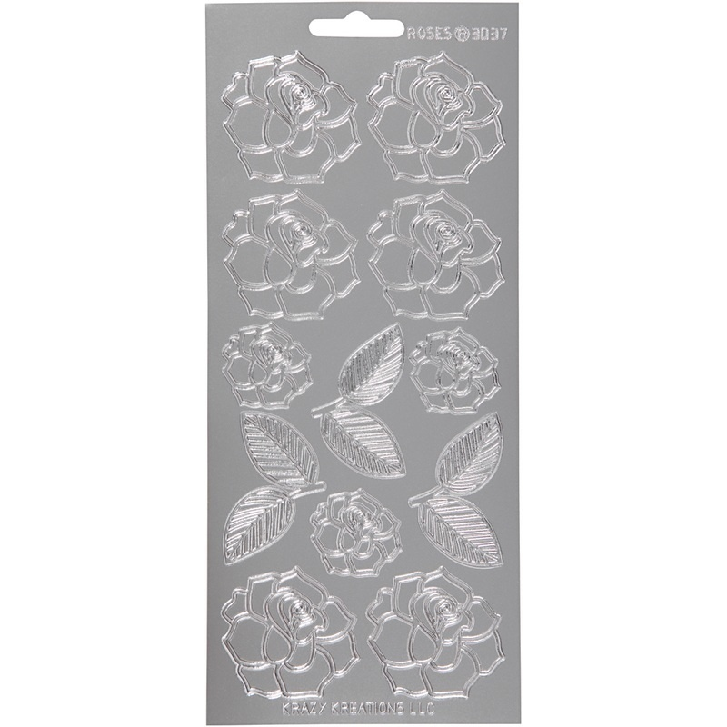 Creativ Company Stickers, Silver, Roses, 10x23 Cm, 1 Sheet