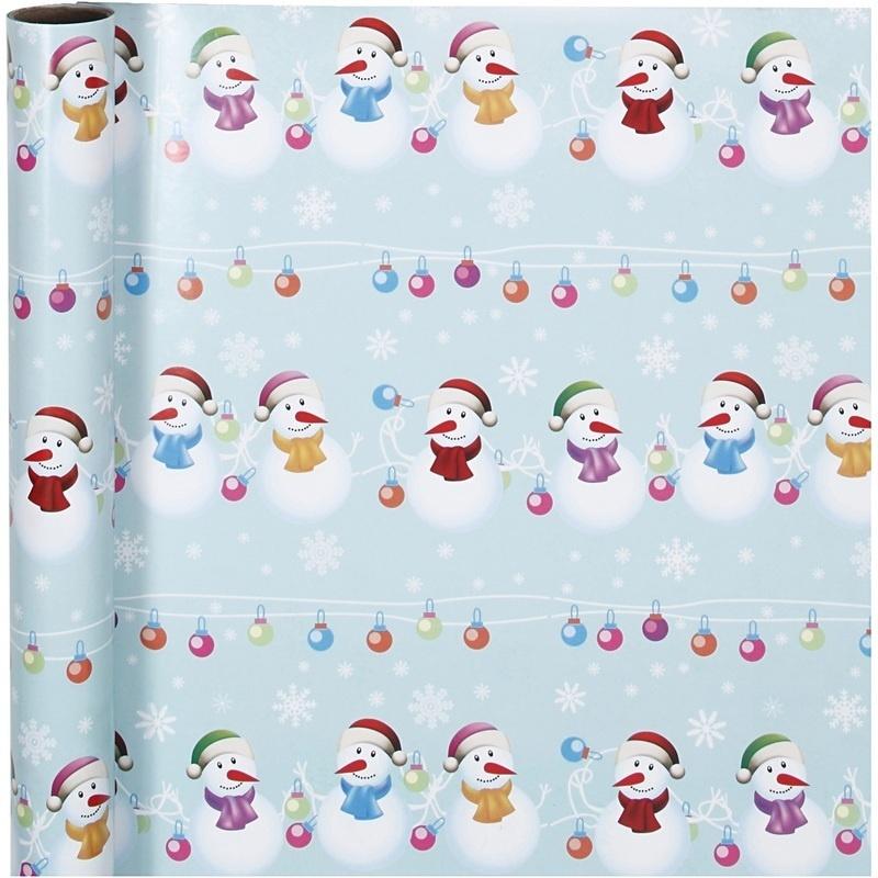 Creativ Company Gift Wrap, Row Of Snowmen, W: 70 Cm, 80 G, 4 M, 1 Roll