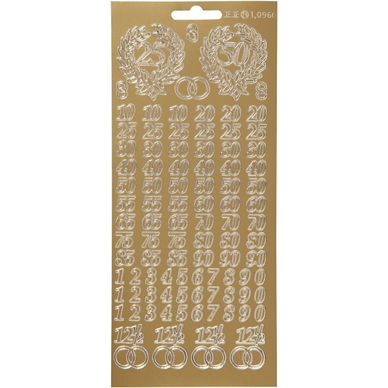Creativ Company Stickers, Gold, Jubilee Numbers, 10x23 Cm, 1 Sheet