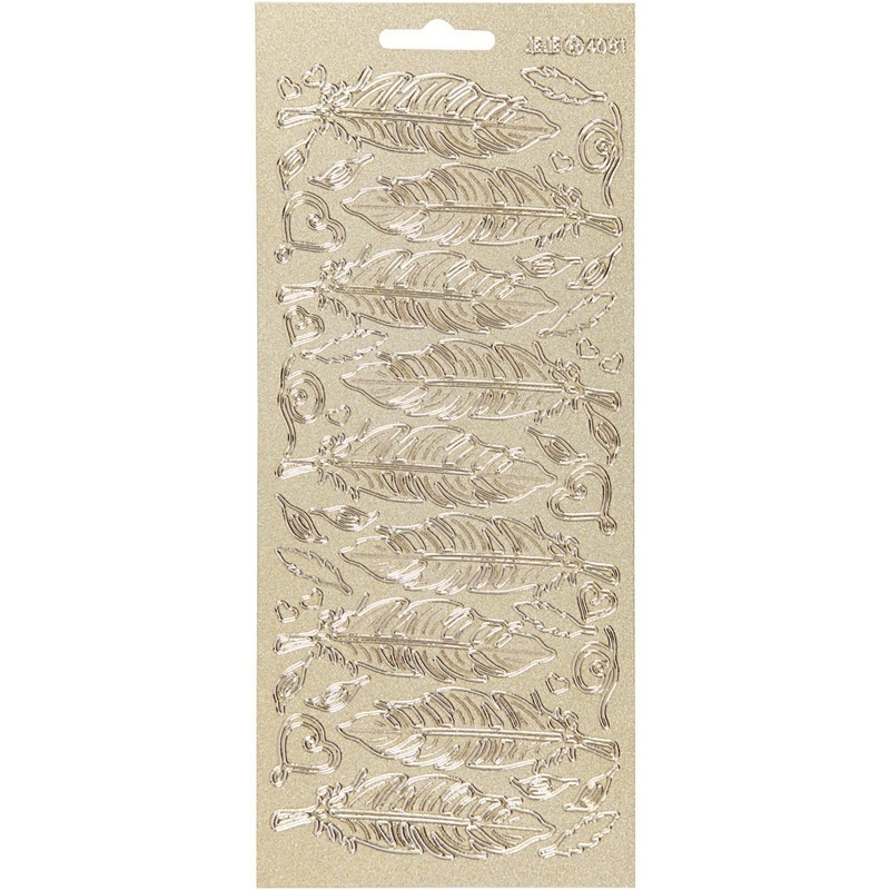 Creativ Company Stickers, Gold, Feathers, 10x23 Cm, 1 Sheet