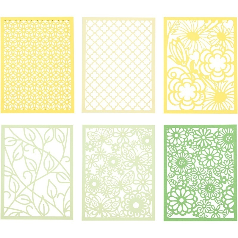 Creativ Company Pad With Cardboard Lace Patterns, Green, Light Green, Yellow, Light Yellow, A6, 104x146 Mm, 200 G, 24 Pc, 1 Pack
