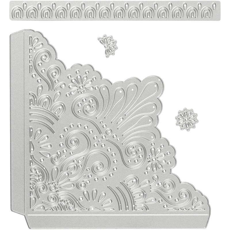 Creativ Company Die Cut And Embossing Folder, Decorative Coners, 14,5x1,5 Cm, 1 Pc