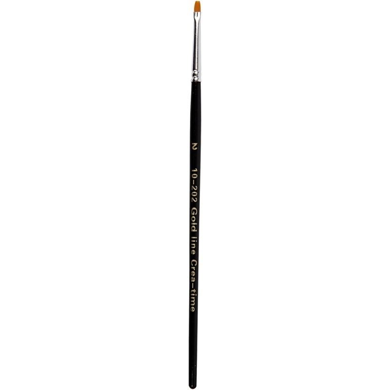 Creativ Company Gold Line Brushes, Flat, 2, W: 3 Mm, 12 Pc
