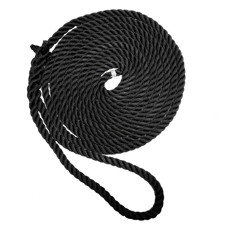 "New England Ropes 5/8"" X 50' Premium Nylon 3 Strand Dock Line - Black"
