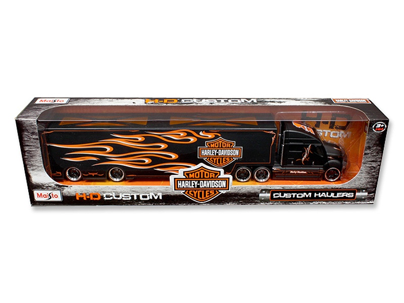 "Harley Davidson Custom Hauler Trailer Black \""custom Haulers\"" Series 1/64 Diecast Model By Maisto"