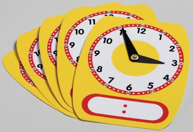 Write-On/Wipe-Off Clocks, Set Of 5