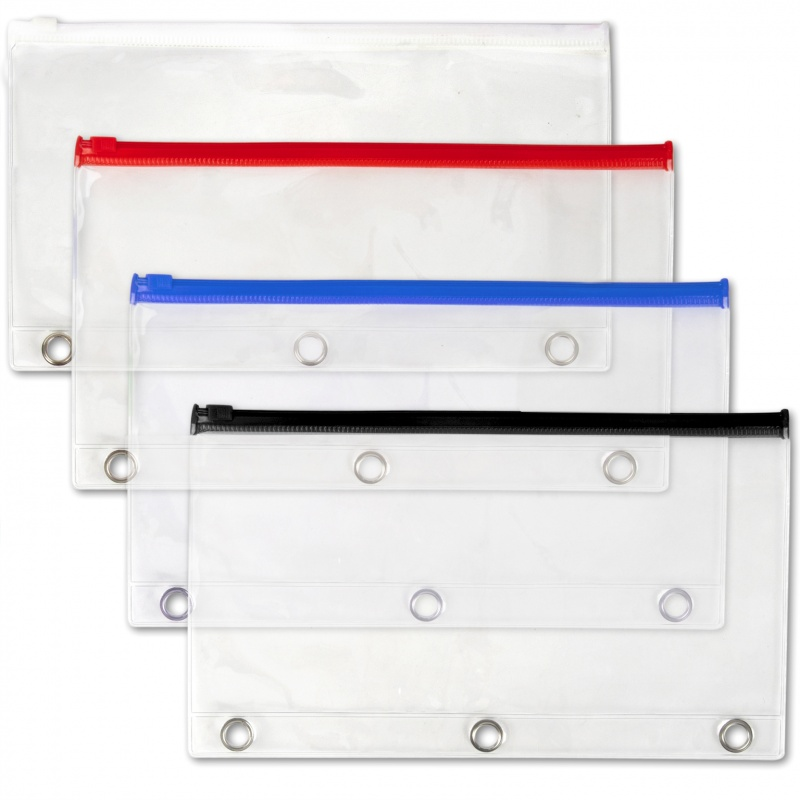 Pencil Case - # Ring Reinforced, Clear, Zipper Closure