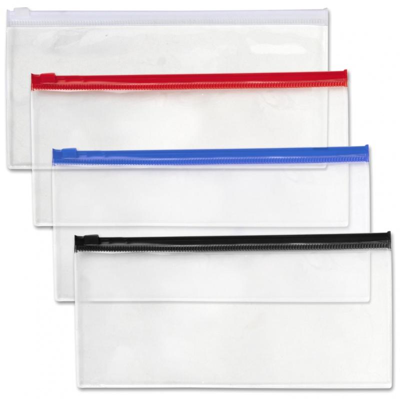 Pencil Pouches - Clear, Zipper Closure, Assorted Color Trim